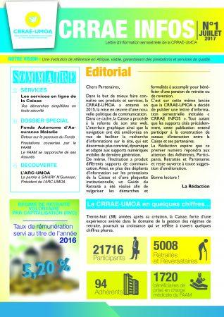 Lettre d'information de la CRRAE-UMOA N°1 JUILLET 2017
